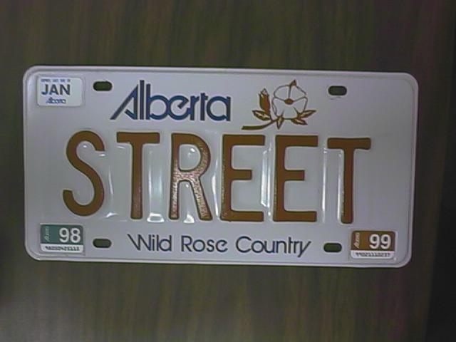 Street alberta i have had this plate since 1985 it has been on